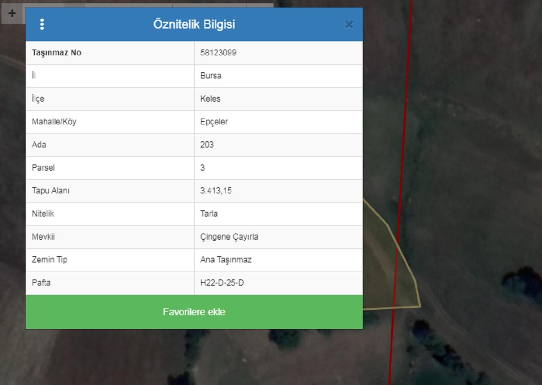 BURSA KELES EPÇELER MAH. SATILIK TARLA 320.000 TL